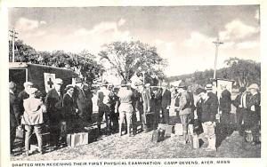 Red Cross Post Card, Old Vintage Antique Postcard Drafted Men Receiving their...