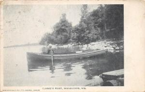 B10/ Winneconne Wisconsin Wi Postcard 1910 Clarke's Point Boat Shore Lake