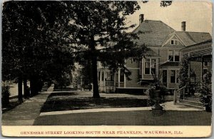 Waukegan, Illinois Postcard GENESEE STREET Looking South Houses 1910 Cancel