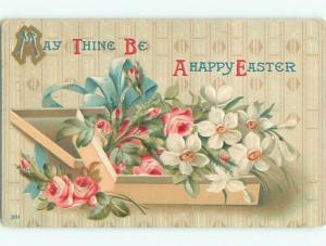 Pre-Linen easter BEAUTIFUL BOX OF FLOWERS WITH RIBBON k3095