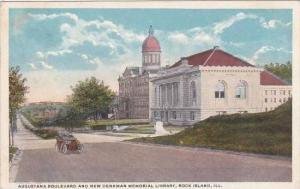 Illinois Rock Island Augustana Boulevard And New Denkman Memorial Library 1919