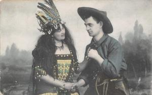 Andover SD Cowboy & Beautiful Native American Belle w/Feathered Headdress c1910
