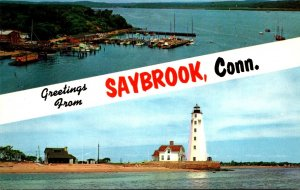 Connecticut Saybrook Greetings Showing Inner Lighthouse and Raymond E Baldwin...
