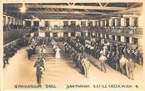 Battle Creek MI Sanitarium Interior Gymnasium Drill Real Photo Postcard