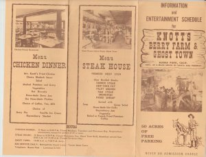 Vintage Knotts Berry Farm Info & Ent. Schedule Fold-Out 50 Acres of Parking