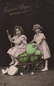 RP: 2 Kids & an EASTER wagon full of giant Eggs , 1907