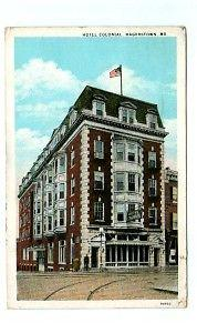 Hotel Colonial Hagerstown Maryland 1937 postcard
