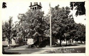 Hart Michigan~Three-Window Open Belltower~Obscured Baptist Church~RPPC c1950