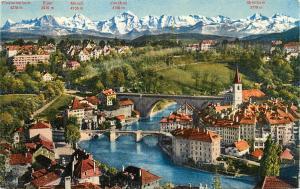 Bern Obstberg und Nydeckbrucken Berne Pont de la Nydeck at les Alpes Postcard