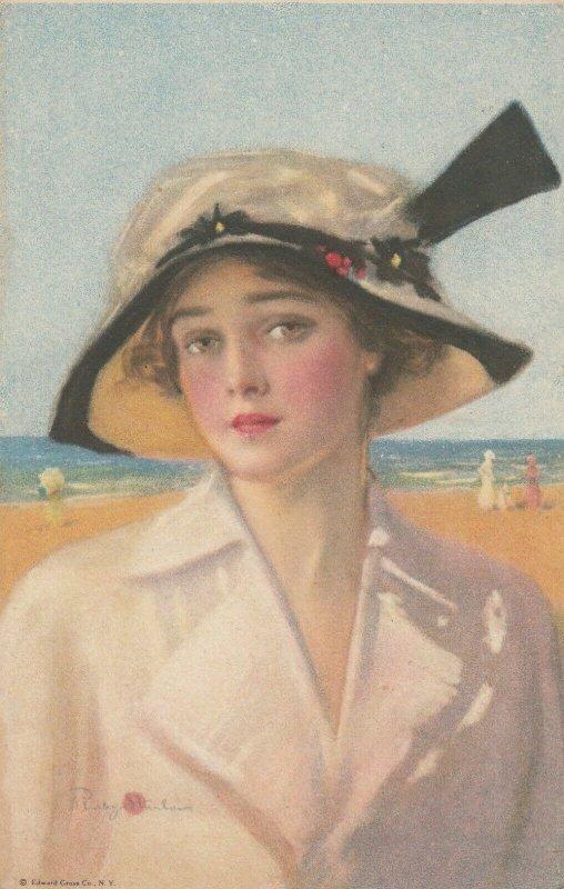 Woman portrait , 1900-10s ; #32A ; Artist Ruby Stanlaus
