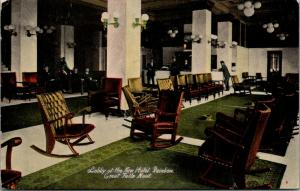 Great Falls Montana~New Hotel Rainbow Lobby~Check In Desk Clerk~Spittoons~c1910