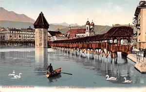 Switzerland Old Vintage Antique Post Card Luzern Kapeilbrucke Unused