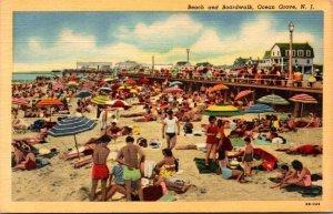 New Jersey Ocean Grove Beach and Boardwalk 1953 Curteich