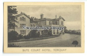 tq0541 - Devon - Early View of Bute Court Hotel, Advert Card, Torquay - Postcard