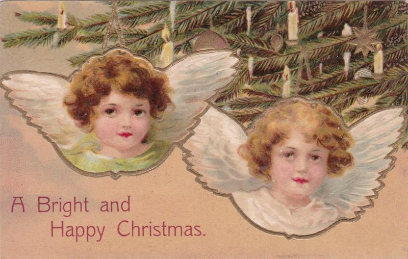 christmas pu 1908 angel faces decorated tree branches lit