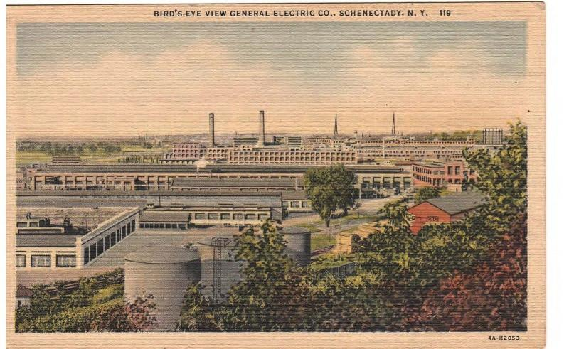 GENERAL ELECTRIC COMPANY PLANT in SCHENECTADY NEW YORK 1934 LINEN POSTCARD