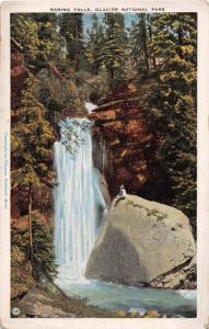 GLACIER NATIONAL PARK MONTANA BARING FALLS POSTCARD c1920s