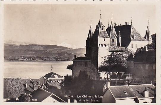 Switzerland Nyon Le Chateau Le lac Real Photo