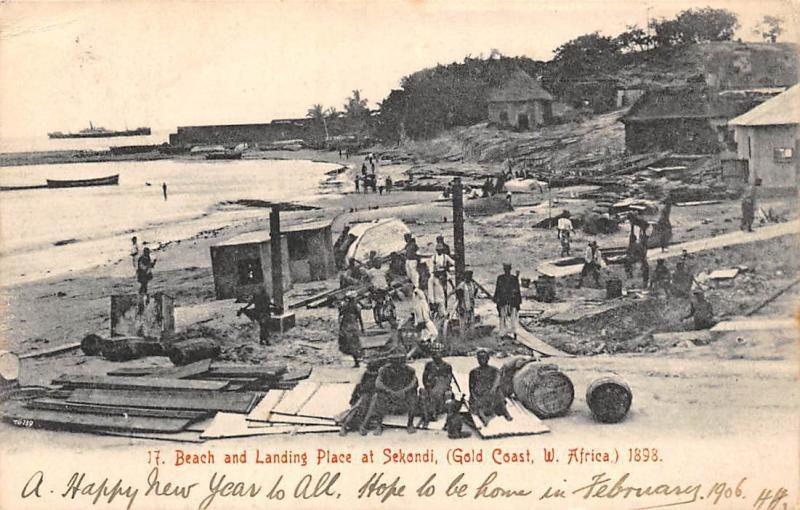Ghana Gold Coast Beach and landing place at Sekondi 1905 postcard