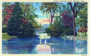 CT, Pond in Elizabeth Park, Hartford, Connecticut Postcard, Curt Teich