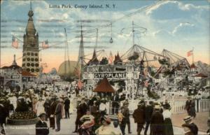 Coney Island NY Luna Park Gyroplane Ride c1910 Postcard