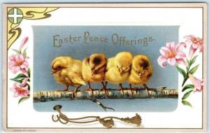 Art Deco EASTER PEACE OFFERINGS Embossed Flowers & Chick Embossed 1910s Postcard
