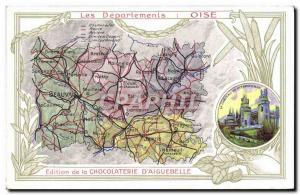 Old Postcard MAPS Chocolaterie d & # 39Aiguebelle Oise Chateau de Pierrefonds