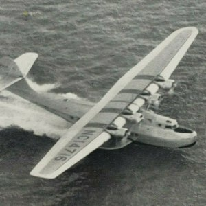 Pan Am American Airlines China Clipper Taking Off for Orient Plane 1936 Postcard