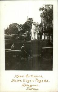 Rangoon Burma Shwe Dagon Pagoda Near Entrance c1910 Real Photo Postcard