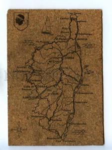 196001 FRANCE La CORSE Corsica MAP Vintage cork postcard