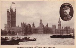 General Nicholson WW1 Military at London Bridge Thames River Real Photo Postcard