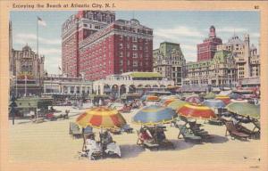 New Jersey Atlantic City Enjoying The Beach 1949