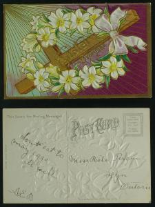 Easter Christian cross with lily flowers,  rays   c 1910