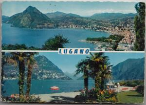 Lugano, multi view, 1965 used Postcard