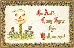 White JOL For Auld Lang Syne This Halloween Embossed Postcard