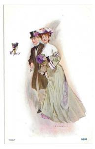 Romance Couple Violets Artist Signed JV McFall