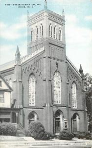 Cadiz Ohio~First Presbyterian Church~Cathedral Stained Glass~1940s Postcard
