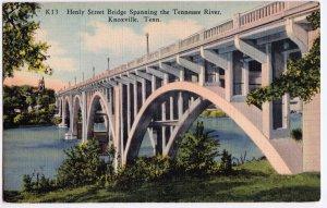 Knoxville TN Henly Street Bridge Postcard 1936