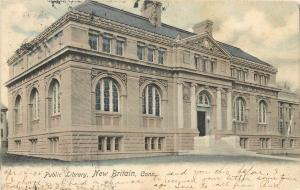 c1905 Hand-Colored Lithograph Postcard; Carnegie? Public Library, New Britain CT