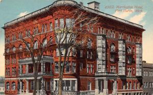 Port Huron Michigan~Harrington Hotel~Corner View~Stopping Here~1911 Postcard