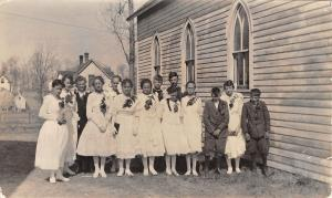 Real Photo Postcard~Palm Sunday Church Group~Young Ladies in White~Branches~1919