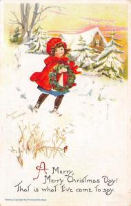 Frances Brundage Christmas~Girl in Red Bonnet & Coat~Carries Wreath in Snow~1914