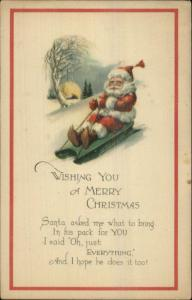 Christmas - Santa Claus on Green Sled Series 512 c1915 Postcard