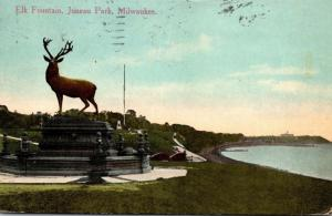 Wisconsin Milwaukee Juneau Park Elk Fountain 1913