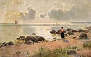 Lady Looking Out at Ship  *Artist Signed: P. Schrekhasse