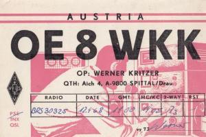 Werner Kritzer Spital Austria Vintage Old 1960s QSL Amateur Radio Postcard