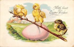 Fantasy Easter~Chicks Teeter Totter on Pink Egg & Pussy Willows~Emboss~Germany