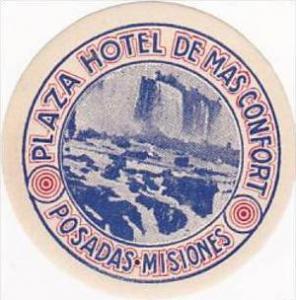 PORTUGAL POSADAS PLAZA HOTEL DE MAS COMFORT VINTAGE LUGGAGE LABEL