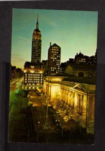NY New York City Public Library Empire State Building Bldg Postcard