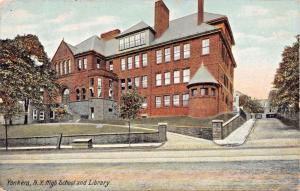 YONKERS NEW YORK HIGH SCHOOL & LIBRARY POSTCARD 1910s PSTMK
